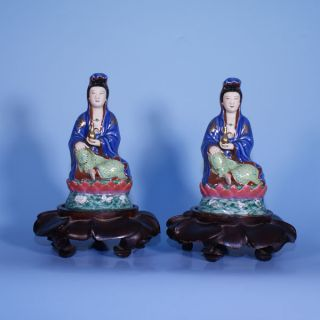 A Pair Of Republic Chinese Porcelain Famille Rose Guanyin Figures photo