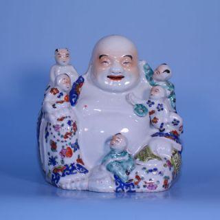 A Chinese Porcelain Famille Rose Hotai Hotei Buddha Figure photo
