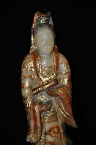 Antique Carved Soapstone And Gilt Quanyin Figure photo