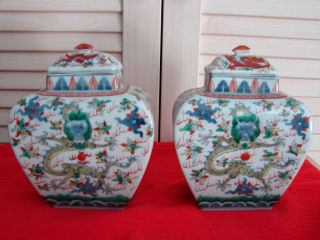 Pair Of Chinese Ching Dynasty Five Color Over Blue And White Porcelain Vases photo