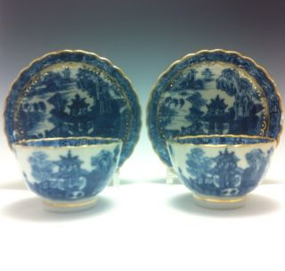 Very Fine Chinese Export Porcelain Pair Of Cups And Saucers Great Gilding. photo