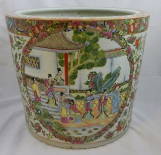 Extra Large Antique 19th C Chinese Rose Medallion Fish Bowl Town Family Scenes photo