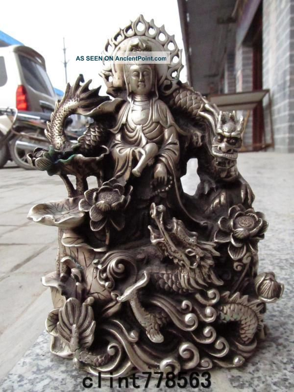 China Folk Exquisite White Bronze Silver Sit Dragon Kwan - Yin 300 Reproductions photo