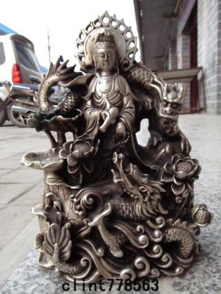 China Folk Exquisite White Bronze Silver Sit Dragon Kwan - Yin 300 photo