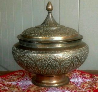 Antique Persian Middle East Xl Lidded Tobacco Urn Bowl Silver & Copper photo
