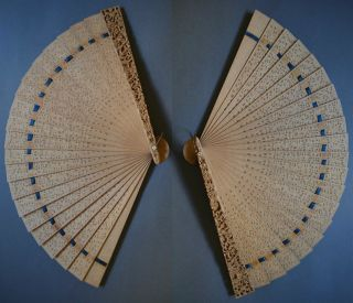 Gorgeous 19th Century Cantonese Chinese Brise Fan Carved Sandalwood photo