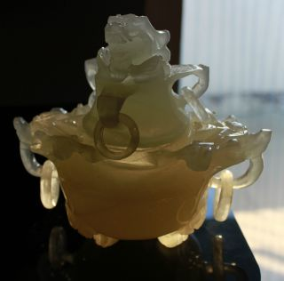 Chinese Jade Hand Carved,  Statue (five Rings Dragon Vase) 1090g Height15cm photo