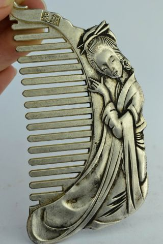 Asian Old Collectibles Decorated Handwork White Copper&tibet - Silver Belle Comb photo