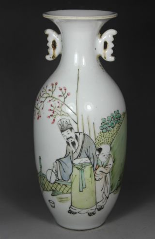 Chinese Old Porcelain Handwork Painting Elder And Favorite Vase Decoration photo