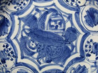 A Fine Blue & White Kraak Export Porcelain Dish.  Jingdezhen.  Late Ming Dynasty photo