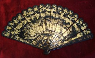 Antique Chinese Export Brise Fan Lacquered 19th Century Canton photo