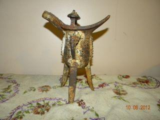 Chinese Bronze Tripod Ritual Wine Vessel photo