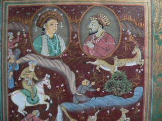 Antique Indian Mughal Miniature Silk Painting photo