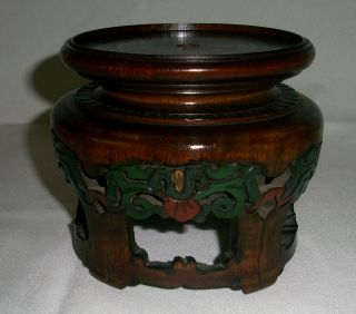 Very Handsome Impressive Antique Carved Wood Stand For Vase Or Bowl. photo