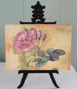 Antique Chinese Wrought Iron Easel And Rose Fabric Painting Made In China: Nr photo