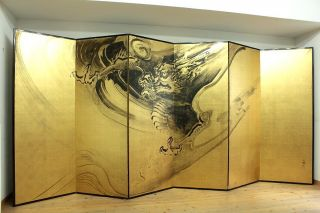 Wajin B103 Japanese Golden Byobu Folding Screen Kubota Beisen Dragon photo