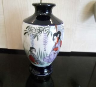 Satsuma Antique Hand Painted Vase Japan C1900 Cobalt Blue Two Scenes photo