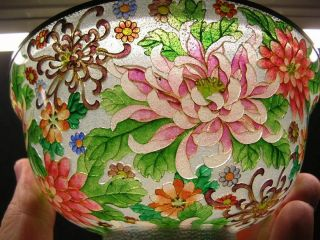 19th Century Japanese Plique - A - Jour Enamel Cloisonne Flower Bowl,  Nr photo
