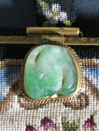 Old Carved Chinese Jade Plaque Of Bat Mounted As Clasp Of Purse Handbag 1920 ' S photo