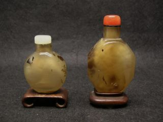 Two Qing Dynasty Chinese Agate Snuff Bottles 19th Century photo