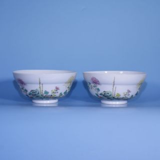 A Perfect Pair Of Guangxu Mark And Period Chinese Porcelain Bowls photo