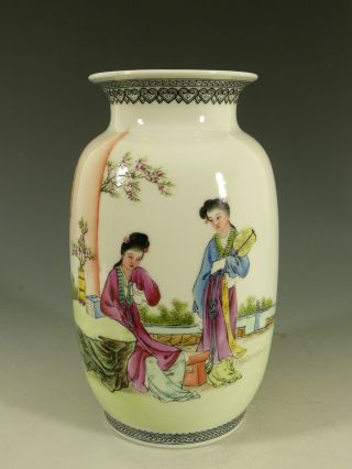 Chinese ' Republic ' Famille Rose Porcelain Vase Qianlong Mid 20thc photo