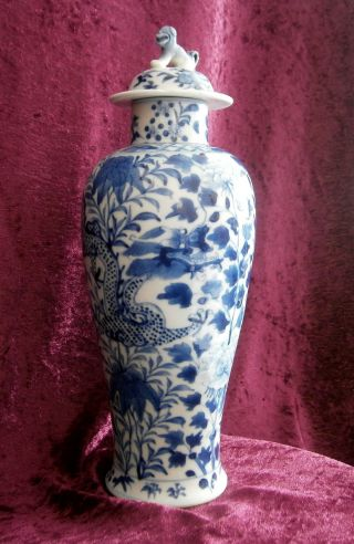 Large Fine Antique Chinese Porcelain Blue And White Dragon Vase - photo