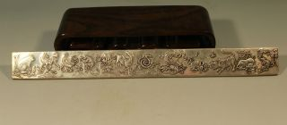 Ancient Chinese Silver - Plated Carving Silver Bar 23cm photo