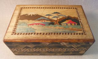 Vtg Japanese Puzzle Box/japan - 2 Scenes: Mt.  Fuji+scottie Dogs+surprises Inside photo
