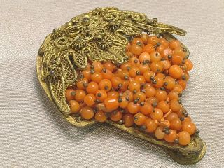 Antique Chinese Coral Beaded Scarf Or Dress Clip Gilded Filigree Cluster Grapes photo