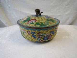 Antique Chinese Cloisonne Enamel Brass With Lid Foo Dog Ginger Jar Bowl Nr photo