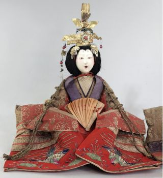Japanese Antique Large Hina Doll Edo Meiji Kokinbina Empress Gofun Face 12 In. photo