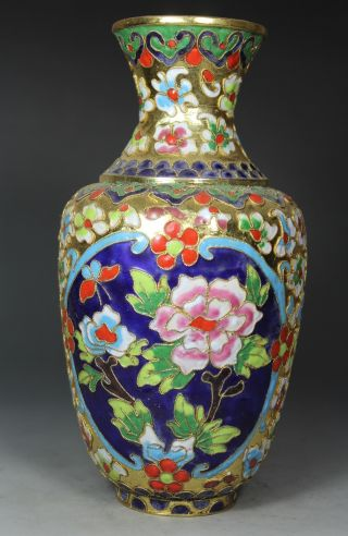 Chinese Handwork Cloisonne Flower Butterfly Old Vases photo