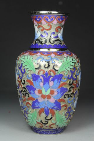 Chinese Handwork Cloisonne Flower Old Vases photo
