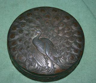 Antique Japanese Bronze Tea Caddy / Box Peacock & Crane Meiji photo