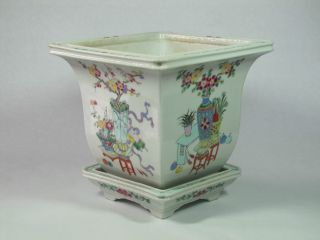 Fine Antique Chinese Porcelain Famille Rose Planter & Stand 19th Century Qing photo