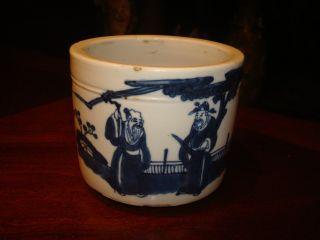 Antique Chinese Blue And White Brush Pot,  Kangxi Period photo