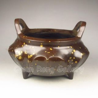 Chinese Splashing - Gold Bronze Tripod Incense Burner W Mark Nr photo