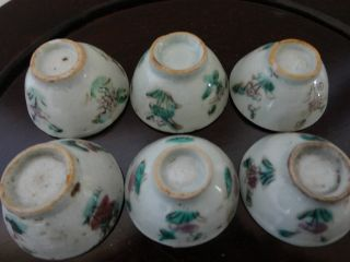 6 Old Tiny Colourful Chinese Porcelain Liquor Cups photo