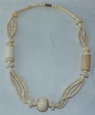 1920 ' S Quality Chunky Chinese Ox Bone Necklace 61cm 24