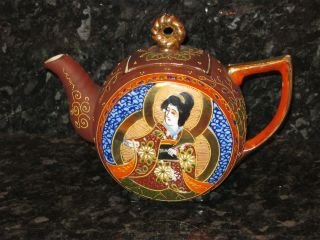 Art Deco Japanese Hand Painted Satsuma Porcelain Teapot photo