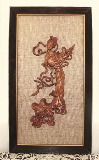 Vintage Chinese Wood Carving Figure Of Chinese Beauty Kwan - Yin Framed 25