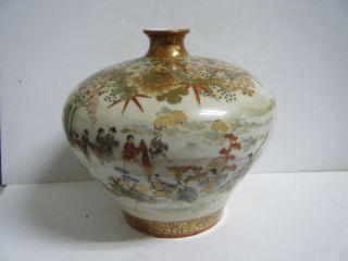 Fine Vintage Meiji Satsuma Painted And Sig Many Figures Vase Royalty Carriage photo
