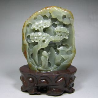 Chinese Hand - Crafted Carved Hetian Jade Statue & Landscape Pine Tree Poet Libai photo