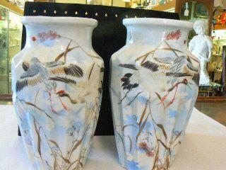 Pair Tashiro Japanese Meiji Bird Of Paradise Crane Birds Floral Motif Vases photo