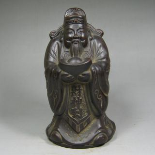 Antique Chinese Yixing Zisha Old Pottery Statue Fortune Deity photo