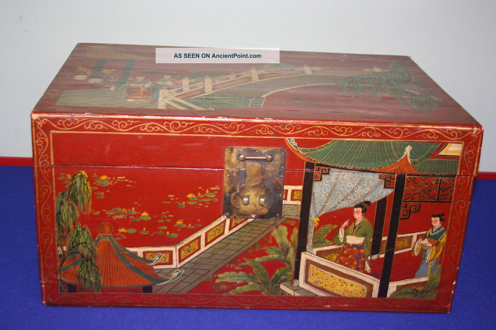 Large Chinese Red Lacquer Wood Box Boxes photo
