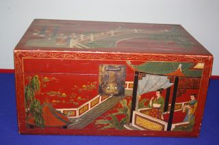 Large Chinese Red Lacquer Wood Box photo