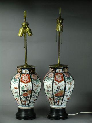 Rair Pair Of 18th Japanese Imari Arita Vases Of Octagonal Vases As Lamps photo