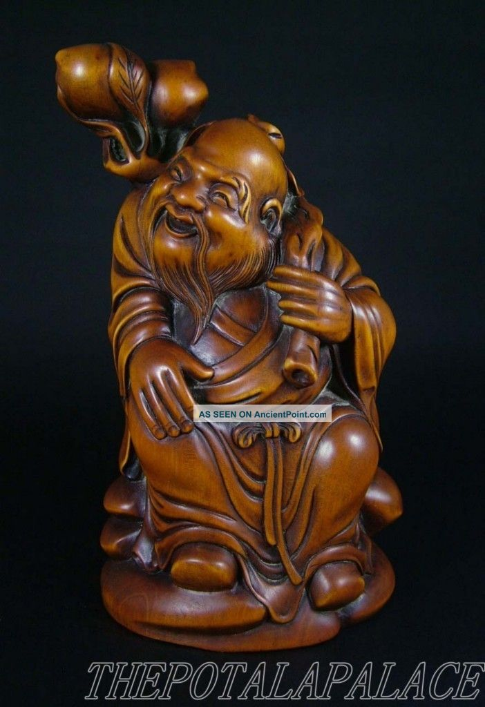 Old Chinese 19thc Boxwood Carved Statue God Of Shou (longevity) Buddha photo